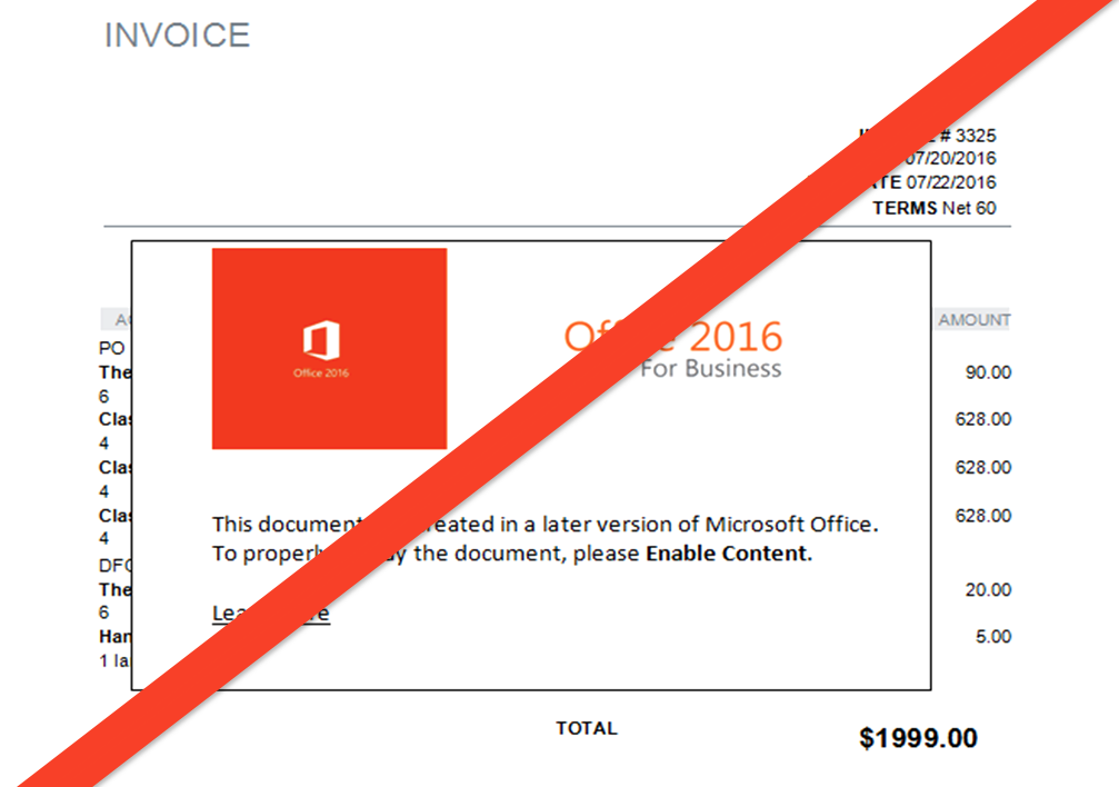 fake invoices don t enable document malware lineal it